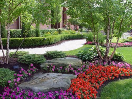 фото дизайна дачного ландшафтного участка с цветами