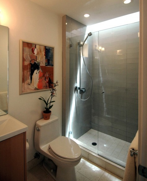 Awesome-Design-for-Small-Bathroom-Ideas-Exposing-Glossy-Toilet-under-Hand-Painting-Closed-by-Screen-Glass-for-Shower-Bath-Deign