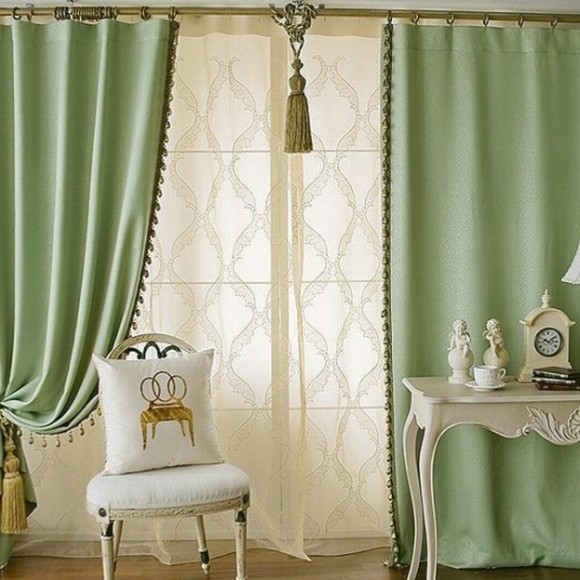 solid-green-color-elegant-blackout-living-room-curtains