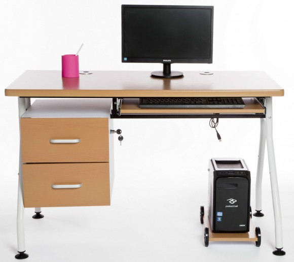 COMPUTER-DESK-Keyboard-Shelf-Drawers-Lock-in-Beech-_57