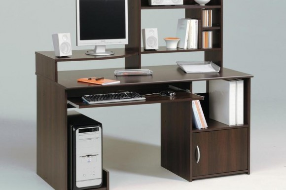 elegant-computer-desk-with-dark-wooden-material-and-multifunctional-shelf-and-drawers