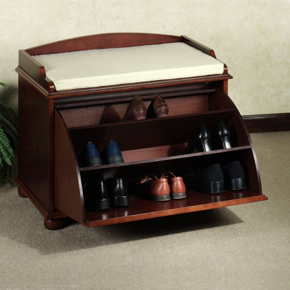 furniture-small-hallway-furniture-design-idea-features-cool-wooden-3-tiers-shelves-shoe-storages-with-door-and-foamy-bench-atop-stylish-shoes-storage-cabinet-with-door-for-brilliant-saving-sp