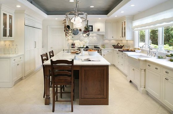 White Kitchen With Grey Pressed Tin Home Design